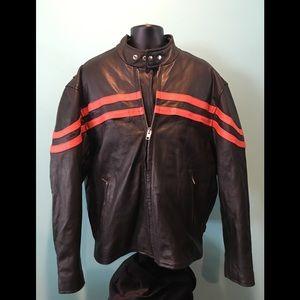 Unik Black Leather Jacket w/Race Stripes Size 50
